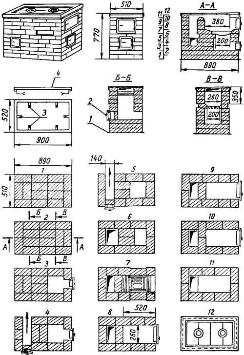 схема-чертеж самой простой кухонной кирпичной плиты-печи