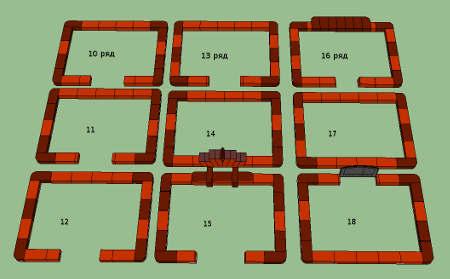 схема-чертеж кладки печи камина